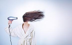 Wallpaper Hairdryer, humor, dry, in white, girl, is, brunette, hairstyle, hair, background, Bathrobe