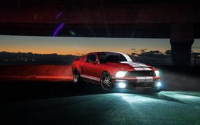Picture Shelby, GT500, Car, Muscle, Red, Aristo, Sunset, Collection, Front, Sky, Light, Mustang, Ford