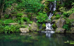 Picture Park, stones, waterfall, pond, Japanese Garden