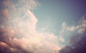 Picture white, purple, the sky, clouds, pink, gently