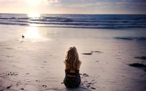 Picture sea, beach, girl, mood