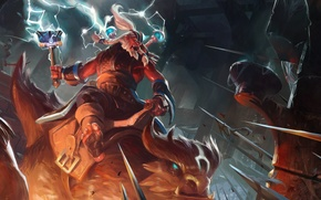 Picture axe, lightning, fortress, the battle, valve, dota 2, disruptor