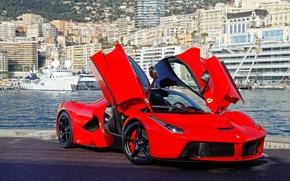 Picture red, red, ferrari, Ferrari, front view, guillotine, doors, the laferrari, laferrari