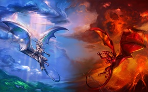 Picture clouds, blue, red, clouds, fire, dragons, the volcano, the air, lava