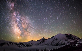 Picture space, stars, mountains, night, space, the milky way