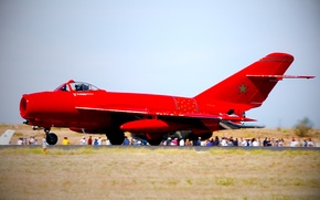 Picture Red, Wings, Aviation, The rise, jet fighter, Side view, The MiG-17, Mikoyan, Fresco, Gurevich