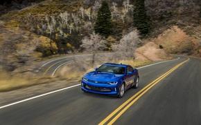 Picture blue, speed, turn, Chevrolet, camaro, chevrolet, Camaro