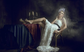 Picture girl, style, smoke, candles, In the dark