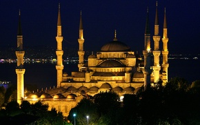 Picture night, mosque, Istanbul, Turkey, night, Istanbul, Mosque, Sultanahmet, Sultanahmed