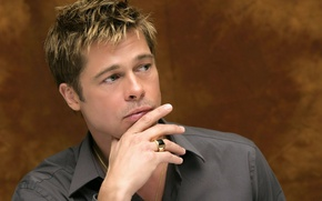 Picture look, ring, actor, male, Brad Pitt, shirt, grey, celebrity, Brad Pitt, producer