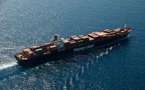 Picture ocean, aerial view, containers, Cargo ship