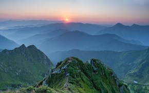 Wallpaper sunset, mountains, Ukraine, Carpathians
