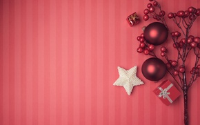 Wallpaper New Year, Merry, decoration, Christmas, balls, Christmas, balls, decoration