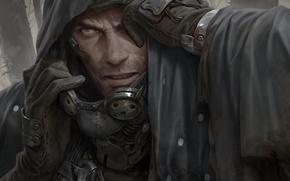 Picture look, face, fiction, glasses, hood, male, cloak