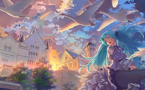 Picture the sky, clouds, sunset, birds, anime, art, vocaloid, hatsune miku, swans, ghosts
