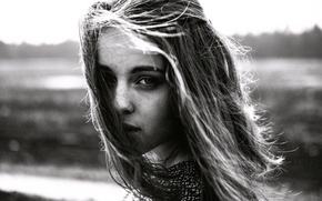 Picture girl, hair, portrait, freckles, BW