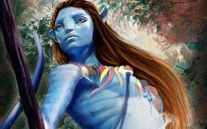 Picture look, Avatar, art, Neytiri, stick, the film