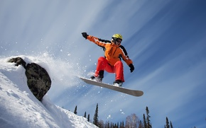 Picture snow, mountains, snowboard, sport