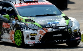Picture Ford, Auto, Sport, Machine, Ford, The hood, Lights, Ken Block, Rally, Fiesta, Fiesta, The front, ...