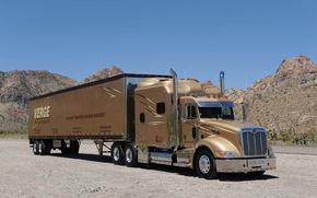Picture road, truck, chrome, the front, Peterbilt, Peterbilt