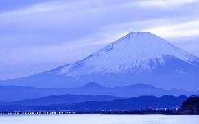 Wallpaper sea, island, mountain, Japan, Honshu, Fuji