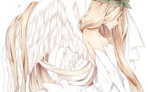 Picture leaves, girl, wings, angel, anime, petals, Sakura, tears, art, wreath, naruto maki