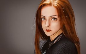 Wallpaper girl, lips, red hair, makeup, art, background, red, look