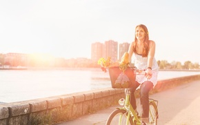 Picture flowers, bike, widescreen, sport, road, asphalt, HD wallpapers, Wallpaper, water, girl, full screen, the sun, ...