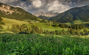 Picture grass, trees, mountains, field, valley, Italy, houses, Italy, Dolomites, The Dolomites, Santa Magdalena, St.Magdalena