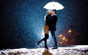 Picture girl, snow, love, umbrella, guy