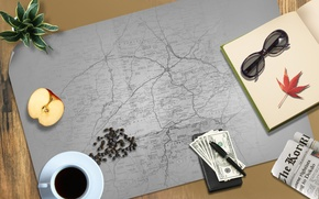 Picture things, Desk, coffee, map
