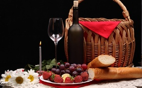 Wallpaper flowers, berries, basket, bottle, chamomile, strawberry, bread, grapes, candle, glass