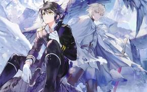 Picture wings, sword, destruction, gloves, vampire, friends, art, military uniform, Owari no Seraph, Yuuichirou Hyakuya, Michaela …