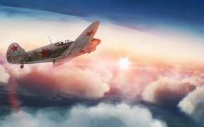 Picture the sky, the sun, clouds, war, fighter, Art, Soviet, piston, single-engine, WW2, War Thunder, As-7, ...