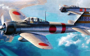 Picture fighter, art, airplane, painting, Mitsubishi A6M Zero