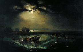 Picture wave, night, clouds, the moon, boat, picture, seascape, William Turner, Fishermen at Sea