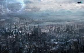 Picture the city, future, transport, art, megapolis, cloudminedesign