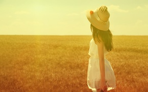 Picture field, summer, girl, the sun, hat
