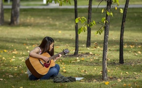 Picture summer, girl, guitar