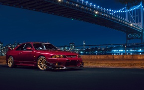 Picture Nissan, Car, Front, Bridge, New York, NYC, Skyline, Sport, R33, Nigth, Chery