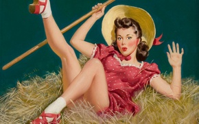 Picture girl, retro, figure, drop, hay, Pin-up, Alfred Leslie Buell