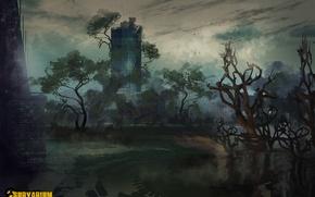Picture trees, skyscraper, postapokalipsis, location, Survarium, concept art, desolation, Vostok Games, Cologne bridge