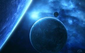 Picture space, stars, nebula, planet, satellite, art, QAuZ
