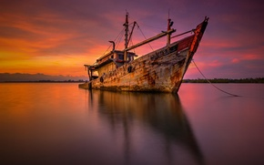 Picture sunset, the ocean, shore, ship, barge