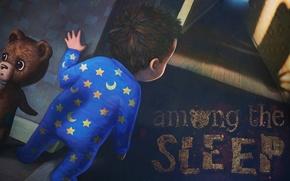Picture night, fear, sleep, shadow, stars, a month, boy, the door, corridor, bear, pajamas, Among the …