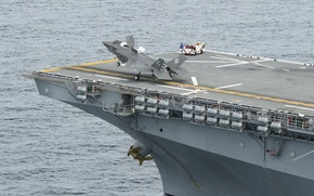 Picture fighter, deck, American, the rise, unique, USS Wasp LHD1, amphibious assault ship, F-35B Lightning II, …