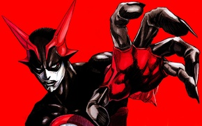 Picture hand, mask, horns, gesture, red background, Zetman, Access Jin