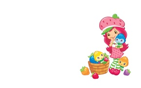 Picture art, girl, basket, children's, berry. mood