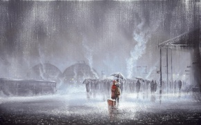 Wallpaper two, picture, Jeff Rowland, love, people, rain, suitcase, male, station, meeting, umbrellas, woman, kiss, the ...