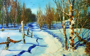 Wallpaper winter, the sky, snow, trees, landscape, birds, the fence, picture, fence, day, shadows, painting, path, ...